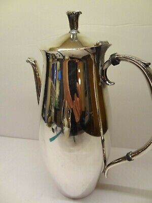 Vintage F.b. Rogers Silver Plated Ornate Teapot Tall And Slender