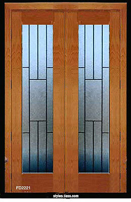 1 - Set Leaded glass Tradition Solid wood Interior Door