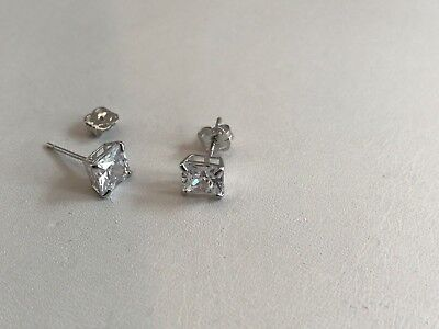 d85306937 14K Solid White Gold Stud Earrings W/ 1 Ct Princess Lab Diamonds / 5Mm By