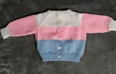 Gorgeous Baby Pink,White & Blue Hand Knitted Sweater