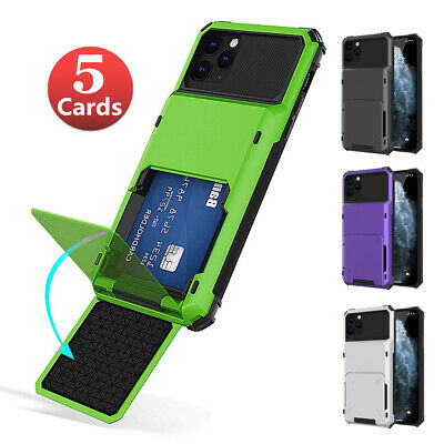 For iPhone 6S 7 8 Plus X XS MAX Case Credit Card Holder Pocket Slot Wallet Cover