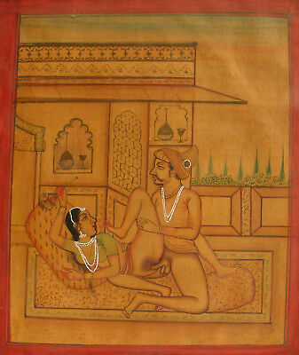 Antique Indian Erotic Kamasutra Miniature Painting 19th century North India