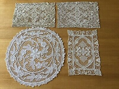 Vintage Ecru Cotton Crocheted Lace Table Centre Pieces/doilies - 4 Pieces.