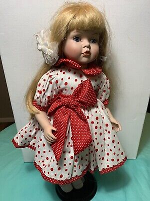 "18.5"" Tall China Doll Blonde Girl With Red And White Dress With Bow Cute Shoes"