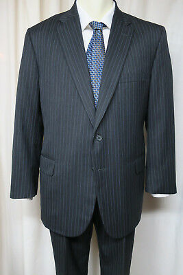 TOM JAMES ROYAL CLASSIC Suit 43R Gray w/Blue Stripe 2 button Custom Tailored