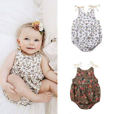 Fashion Sweet Newborn Baby Girl Print  Romper Bodysuit Jumpsuit Clothes Outfits