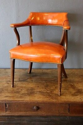 Vintage Library Lobby chair, orange, Law Office, Waiting Room studded arm chair