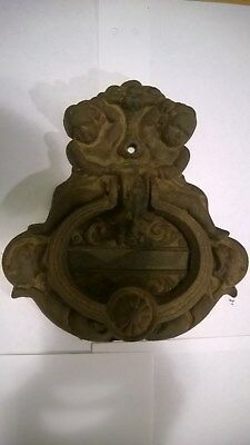 "ANTIQUE Massive Cast Iron  Rustic ""ANGELS,BEAST & HEMERAS?) Door Knocker"