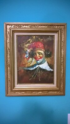 "Original Vintage Oil Painting on Canvas "" Circus Clown "" Signed.Double Framed"