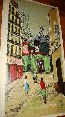 """Original Impressionist Oil painting on Canvas Signed ,Unstretched """"Old City""""?"""