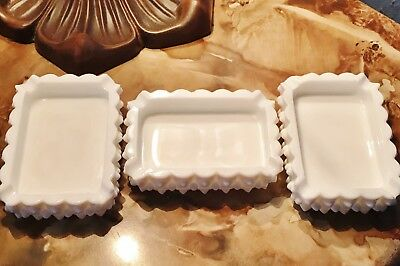 Vintage Fenton Set of 3 White Milk Glass Hobnail Ashtrays Candy Trinket Dish