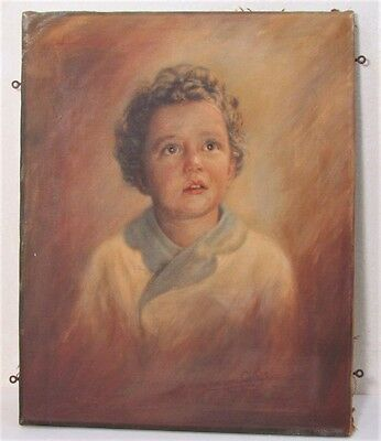 Vintage Astonished Young Boy Portrait Oil Painting