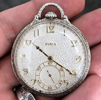 1926 Elgin Corsican 12s 450 14k White Gold Engraved Jack Dempsey Pocket Watch