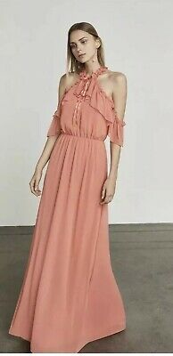 d164773ac783 NWT BCBG MAXAZRIA Spiced Coral Pink Tracie Ruffled Cold Shoulder Maxi Gown S