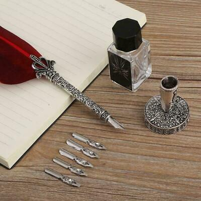 Feather Writing Calligraphy Dip Quill Pen Set Stationery Gift Box with 5 Nibs
