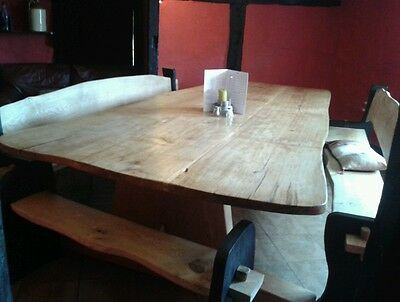 Banquet table. Oak table. Solid wooden table.  Pew. Church pew. Table and chairs
