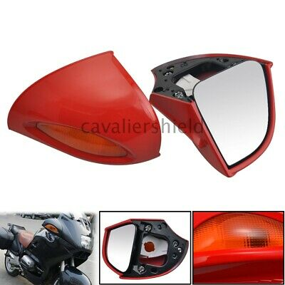 2Pcs Red Turn Signal Lamp Rear View Mirrors For BMW R1100RT R1150RT R1150 RTP
