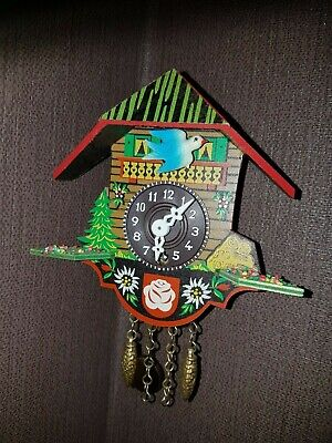 Vintage German Made Solid Wooden Wind Up Miniature Cuckoo Clock With Key