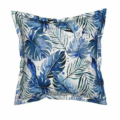 Tropical Plants Leaves Tropical Leaves Flanged Throw Pillow Cover by Roostery