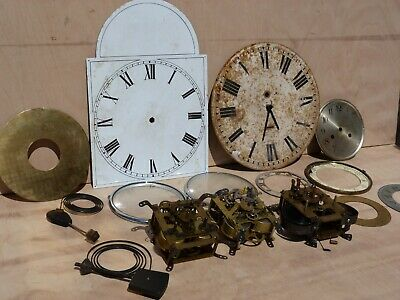 Clock parts ,3 movements and various parts.