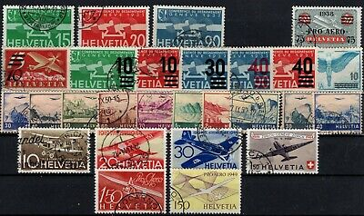 P115024/ Switzerland Airmail Y&T # 16 / 34 – 36 / 40 – 42 / 44 Used 320 E