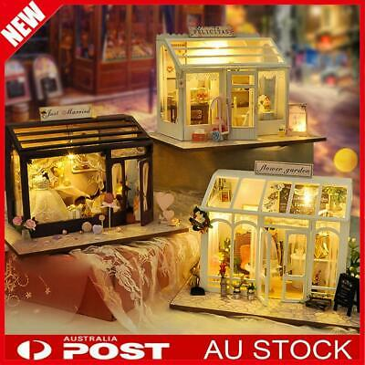 AU Wooden Dollhouse Coffee Cake Shop LED Light Doll House Furniture DIY Toy