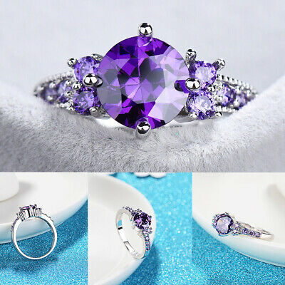 Women White Gold Round Cut Purple Amethyst Gem Finger Ring Wedding Jewelry Gifts