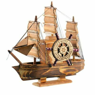 Fully Assembled Small Wooden Sailing Boat Model Nautical Home Office Decor