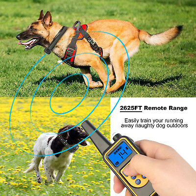 Pet Dog Training Collar Electric Shock LCD Remote 2625FT Rechargeable Waterproof