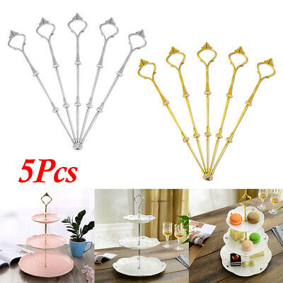 5x 3-Tier Crown Top Cake Plate Stand Handle Fittings Fruit Food Server Display