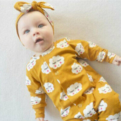 Newborn Infant Baby Boys Girls Romper + Hair Band headscarf Outfit Clothes new