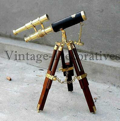 Spyglass Double Barrel Telescope Nautical Brass Marine With Wooden Tripod Stand