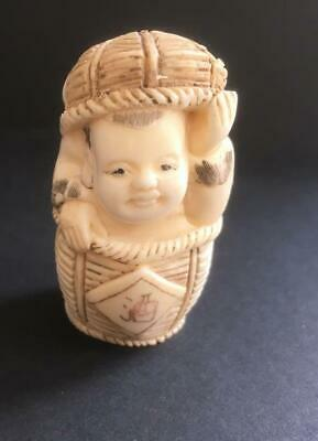 Netsuke Bovine Bone Hand Carved Young Boy In A Basket Well Decorated  Uk Seller