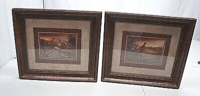 Set of 2 Medium Pheasant Bird in Field by Old Barn Photo Wall Picture Framed