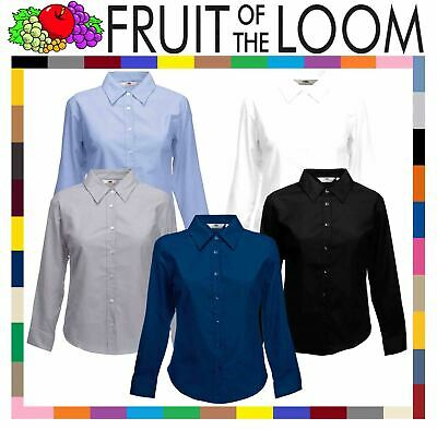 Fruit Of The Loom OXFORD SHIRT LONG SLEEVE LADY FIT COLLAR WORK TOP SMART XS-3XL