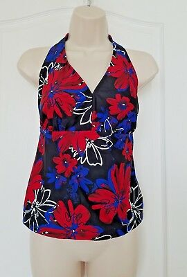 170e0613098 CATALINA WOMENS HALTER Tankini Top Size 1X Floral Stretch Bathing ...