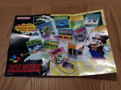 """""""now You're Playing With Super Power!!"""" * Super Nintendo Promo / Poster * Vgc *"""