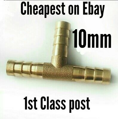 Brass 10mm Barb Tee crimp Joiner Pipe Tube Fitting 3 way tee fuel air water hose