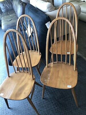 Set Of 4 Ercol Dining Chairs Blonde Light Colour Quaker Chairs