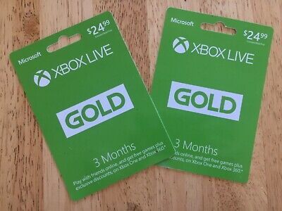 Xbox Live Gold 3 month membership cards (2 cards)