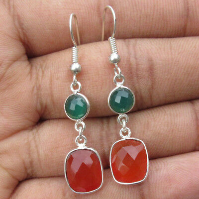 natural green onyx and orange chalcedony silver plated earring size 4.2 cm,