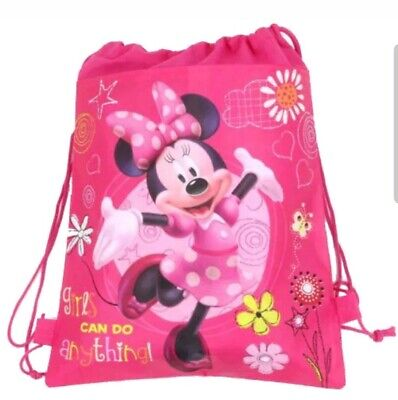 Minnie Mouse Pink Kids Swimming Bag Drawstring School Shoe Party Favour