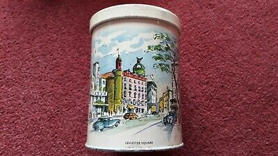 Vintage Mid Century Small Caddy Storage Tin Leicester Square London England