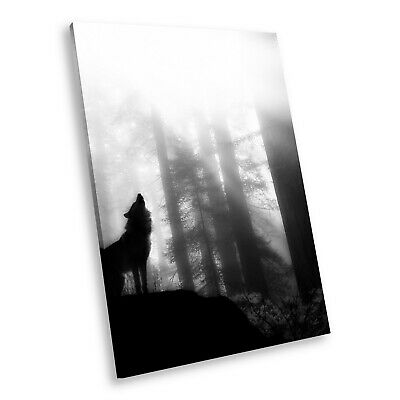 A041 Black White Animal Portrait Canvas Picture Print Large Wall Art Wolf Cool