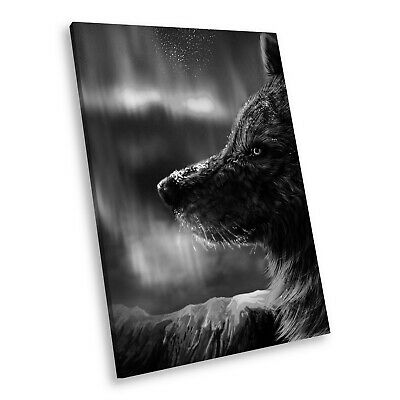 A184 Black White Animal Portrait Canvas Picture Print Large Wall Art Winter Wolf