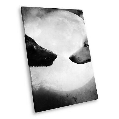 A465 Black White Animal Portrait Canvas Picture Print Large Wall Art Wolves Moon