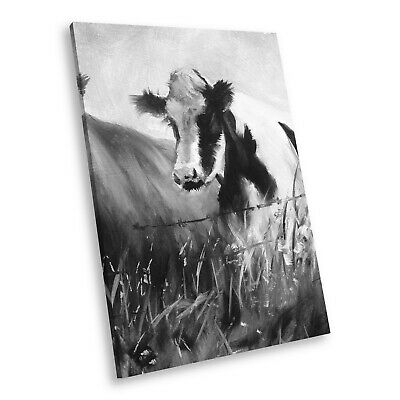 A649 Black White Animal Portrait Canvas Picture Print Large Wall Art Cows Funky