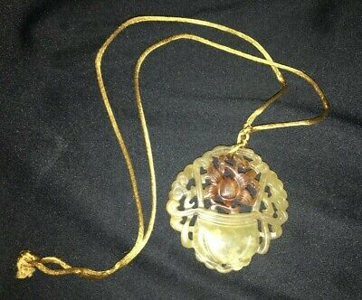 """ANTIQUE CHINESE JADE HAND CARVED PENDANT 1/4"""" x 2 3/8"""" x 2 1/2"""" ( FREE SHIPPING)"""