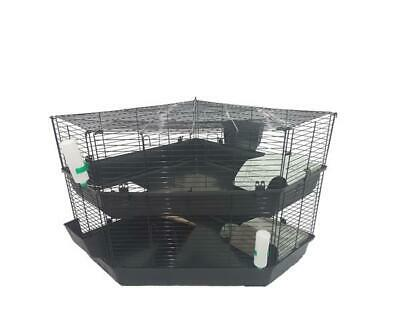 Two Storey Indoor Corner Rabbit Guinea Pig Cage With bowls and water bottles
