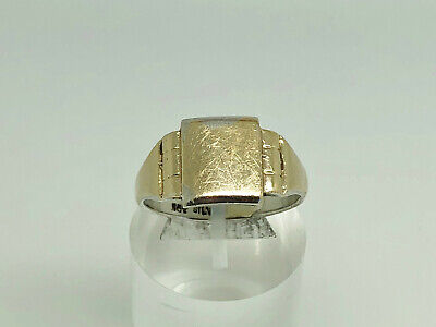 Antique Art Deco 9ct Gold & Sterling Silver Blank Unengraved Signet Ring Size T